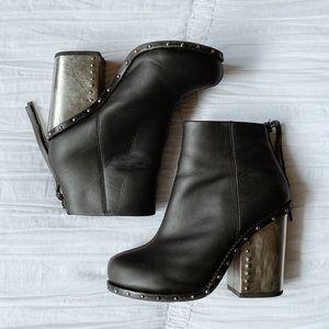 Jeffrey Campbell Black Leather Metal Heel Boots